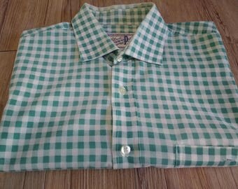 VINTAGE Plaid SHIRT, short sleeves, size L