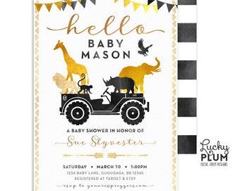 Safari Baby Shower Invitation / Gold Safari Baby Shower Invitation / Couples Baby Shower Invitation / Coed Baby Shower Invitation SF03