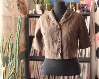 vintage L'Aiglon cropped bolero jacket . 1950s brown striped jacket, womens size large . lightweight dress jacket, elbow length sleeves