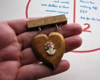 vintage wood & celluloid cameo brooch . wooden heart pin, souvenir from Seattle Washington