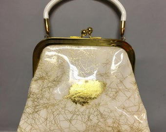 Unusual Vintage 1950's Confetti LUCITE Purse / 50s VERMICELLI Plastic Handbag