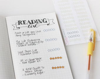 Five Star Rating Planner Stickers, 24 Review Stickers, Rating Stickers, Book Rating, Movie Rating, TV, Recipe, Meal, Bullet Journal, STR3