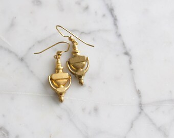 Door Knockers | Vintage Brass Dangle Earrings