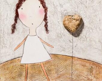 Original - Girl with Stone Heart