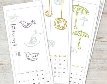 ILLUSTRATED Printable Desk Calendar 2017 2018 Digital Instant Download Digital DIY Illustration Monthly Yearly Planner Wall Art Decor