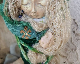 Silver Moon, Figurative Sculpture, Assemblage mixed media Art Doll by Griselda