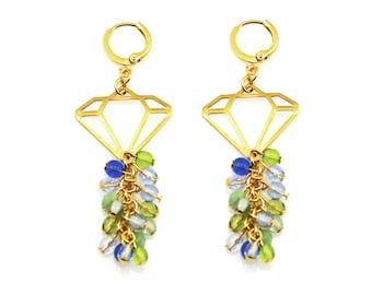 Statement Earrings, Blue Earrings, Green Earrings, Diamond Earrings, Green Statement Earrings, Blue Statement Earrings, Statement Jewelry