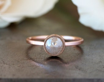 Rose Cut Diamond Ring, Unique Engagement Ring, Natural Color Grey Diamond, 14k Rose Gold Engagement Band, Ecofriendly Conflict Free