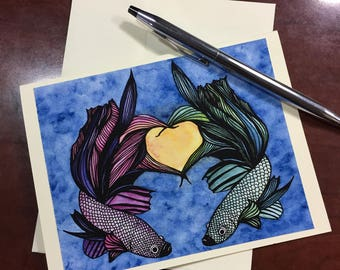 Imperfect Symmetry Original Watercolor Print - Note Card