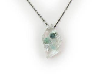 Emerald Eco Resin Tumbled Stone Necklace