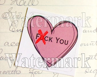 SALE F*ck You F Bomb Pink Heart - Skull Heart Sticker - Sketch - Revenge Pay Back Naughty - Zine Art Sticker - Stickerbomb