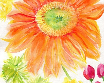 Gerber Daisy Watercolor Painting Original, flowers painting watercolor, flower artwork, red, orange green , yellow 8 x 10, SharonFosterArt