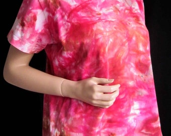 Tshirt LARGE Ladies Cotton Hand Ice Dyed Womens Fitted Shaped Pink Orange Raspberry Magenta Fuchsia White Brown