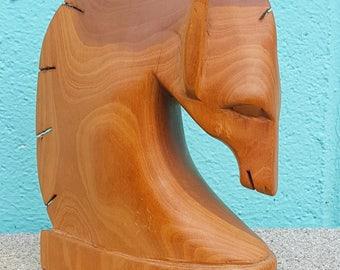 Mid Century  Roman Greek Style Wooden Horse Head Statue
