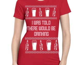 Womens Drinking Shirt Funny Christmas Shirts Party Clothing Beer Shirts Tops Ugly xmas sweater Screen Print Gifts for drunks