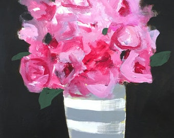 pink roses acrylic painting on paper flower painting flowers in vase stripes wall art home decor original