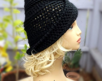 Womens Crochet Hat, Womens Hat, Crochet Beanie Hat, Black Hat, Womens Winter Hat, Ombretta Womens Beanie Hat Women
