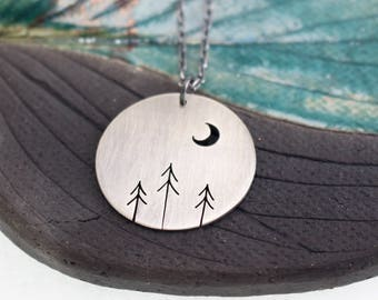 Forest of Three Pines and Crescent Moon Tree Art sterling silver statement round pendant