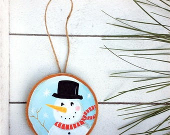 Snowman Ornament, Christmas Ornament, Rustic Christmas, Christmas Decor, Rustic Ornament, Xmas Ornament, Wood Slice, Log Slice, Painted