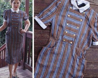 STRIPES 1970's 80's Vintage Grey + Orange Pinstriped Pencil Dress w/ White Collar + Double Breasted Buttons // size Small Medium // by CLIO
