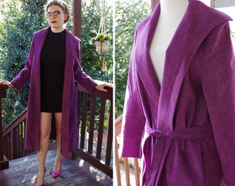 GRAPE 1970's 80's Vintage Purple Long Suede Leather Belted Trench Coat // by Gino Rossi for WILSON // size Small Medium