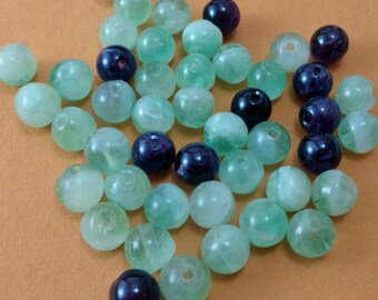 Mixed Lot of Dark Purple Amethyst and Green Fluorite 8mm Beads