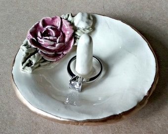 Ceramic Ring Holder Bowl with Gold edging Red Rose OFF WHITE