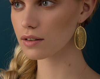Capsule Earrings | etched brass | Corollaria collection