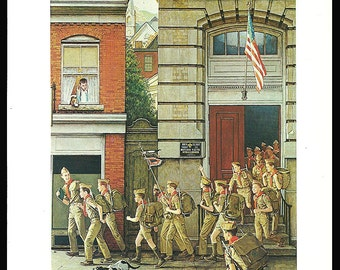 Boy Scouting Art Print Norman Rockwell 1972 Reproduction Art Print Home Living Art Home Decor Art Wall Decor Wall Hanging Home Office
