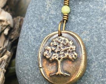 Tree of Life, Wax Seal Charm, Bronze Tree Jewelry, Connemara Marble, Celtic Jewelry, Oak Tree Necklace, Druid Oak Jewelry, Bronze Oak Tree