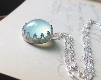 Crown Blue Chalcedony Cabochon Necklace in Sterling Silver