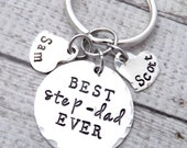 step dad gift-best step dad ever-step dad key chain-step father gift-personalized keychain-step mom gift-stepmother gift