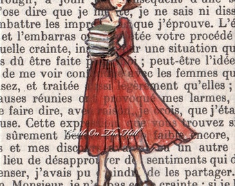 Book Lover - Paris, 1962 - Armfuls of Books - 8 x 10 print
