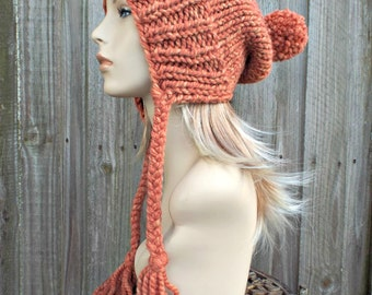 Tangerine Muted Orange Slouchy Ear Flap Hat With Pom Pom - Knit Womens Winter Beanie - Charlotte