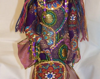 OOAK Deep Jewel Tones Goddess of the Nile BEADED fantasy Fabric art doll 14in. Free Standing
