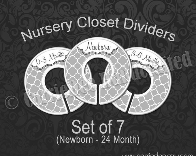 Grey Quatrefoil Baby Closet Dividers, Gray Nursery Closet Dividers, Baby Clothes Organizers, Gender Neutral Baby Shower Gift