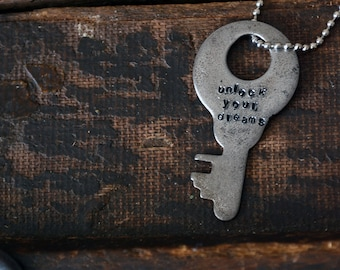 Key of Dreams  - Unlock Your Dreams - Hand-stamped Key - Dreamer - Leather or Chain Necklace