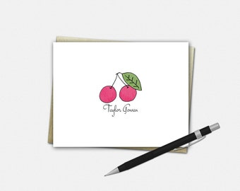 Personalized Cherry Note Cards, Cherry Note Cards, Personalized Folded Note Cards, Cherry Stationery
