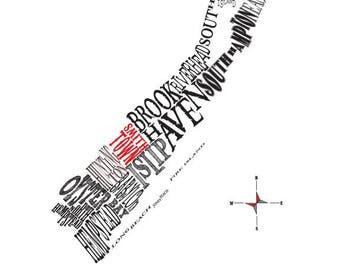 "Customizable- Long Island NY Neighborhood map 11 x 14"" Print"
