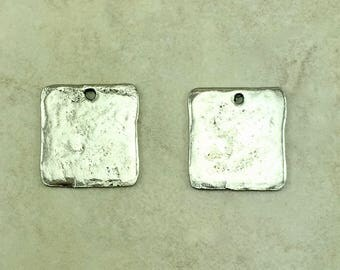 Square Blank Stampable Charm > DIY Personalize Yourself Stamp Altered - American Made Lead Free Pewter Silver - I ship Internationally
