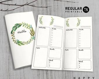 Printable MTN Insert - Regular Undated Daily Insert - Midori daily insert, Daily Traveler's Notebook Insert - Green Leaves
