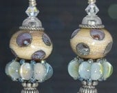 SPARKLE Antiqued Silver LAMPWORK BEADED Artisan Earrings