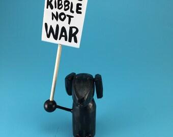dog sculpture   black lab figure   labrador retriever   womens march   custom dog   custom pet sculpture   make love not war   protest art