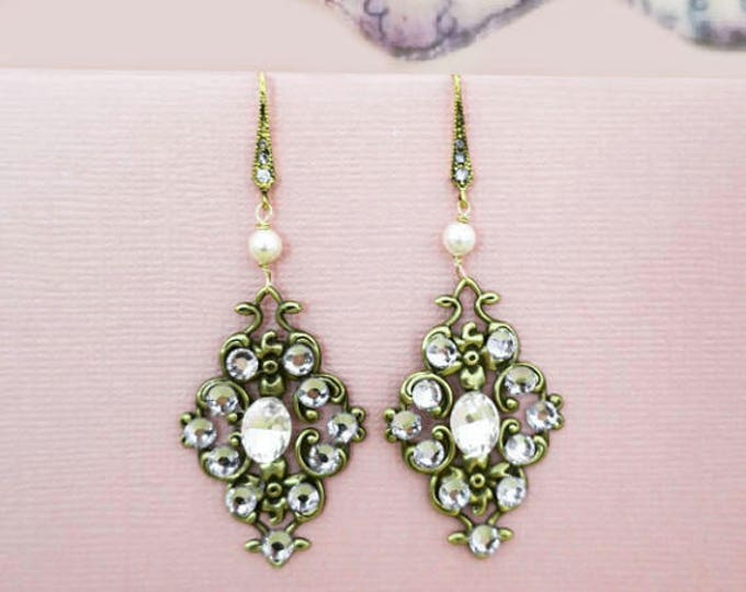 Bridal Crystal Earrings Antique Gold