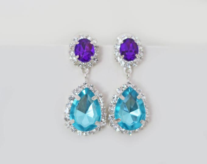 Purple Blue Bridesmaid Earrings Bridal Crystal Earrings Peacock Wedding Jewelry Teal Blue Lilac Light Turquoise Bridesmaid Gift Ocean Blue