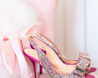 Glamour Glitter Heels Photography - Girlie Glamour Romantic Boudoir Home Decor Wall Art Photography Print