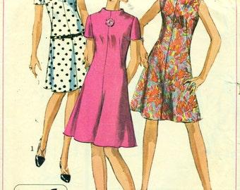 Simplicity 7161 JIFFY MOD A-Line Dress Size 14 Bust 34 VINTAGE 1960s ©1967