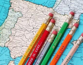 UNITY Pencil 6 pack, Earmark Engraved Pencils, create happiness, anti trump, love wins, love pencils, rainbow, lgbtq, peace, one love, happy