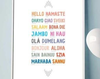 Modern Hello PRINTABLE, Language Wall Art, Type Art, Colorful prints, Printable language, Digital Download, Modern Nursery, last minute gift