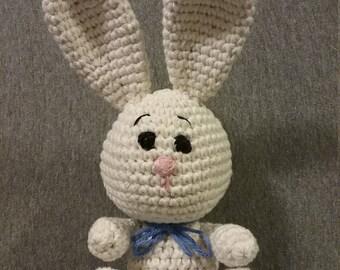 Crocheted Amigurumi White Bunny Stuffed Toy